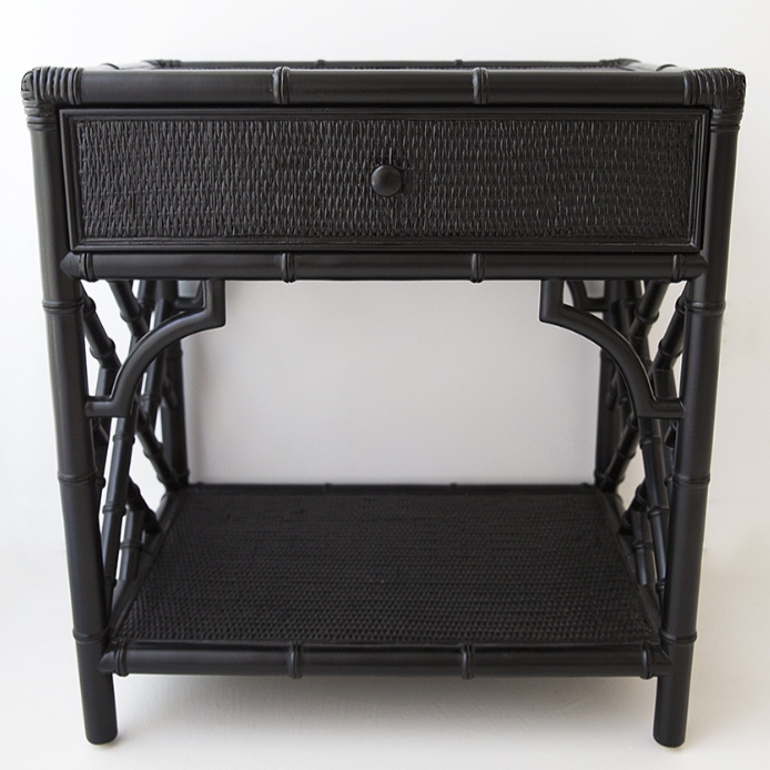 Black Chippendale Bedside Table