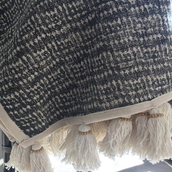 Tribal print linen throw with tassels