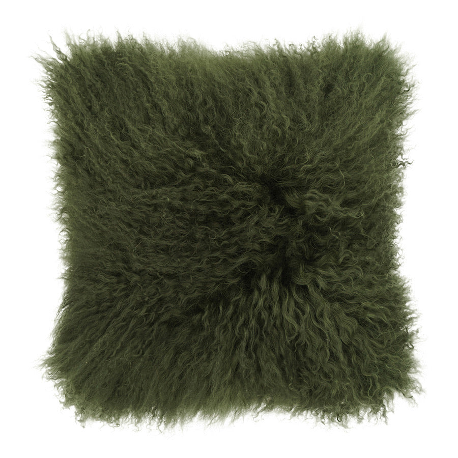 Mongolian Sheepskin Cushion - Olive