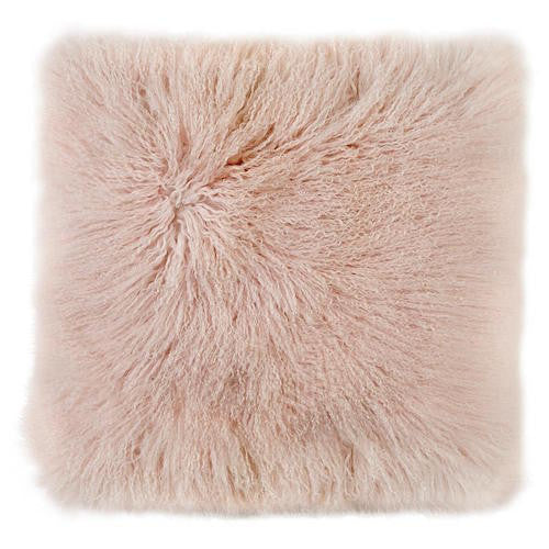 LUXE LOVER Mongolian Sheepskin Cushion BLUSH