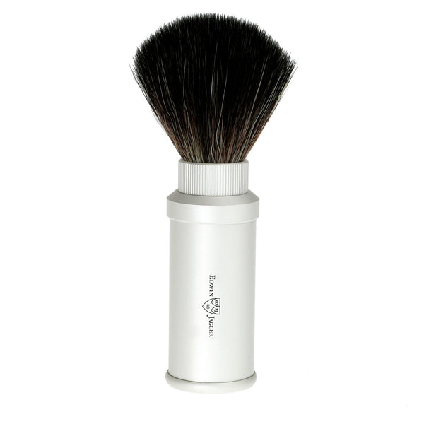 Travel shaving brush, black synthetic fibre, aluminium anodised handle, silver - Edwin Jagger