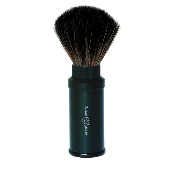 Travel shaving brush, black synthetic fibre, aluminium anodised handle black
