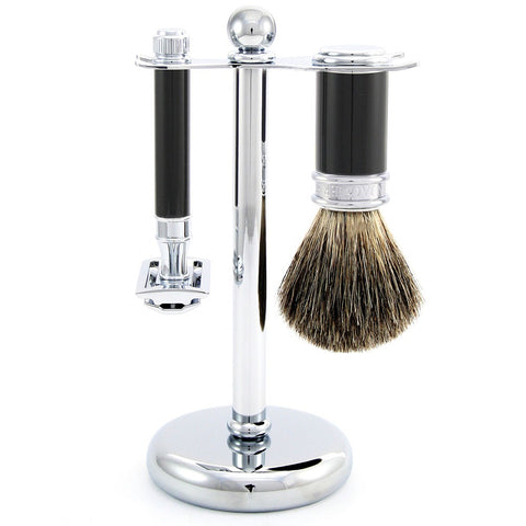 3pc set, DE razor, imitation ebony, shaving brush, pure badger with stand, chrome plated, 1 x pack of 5 Feather razor blades