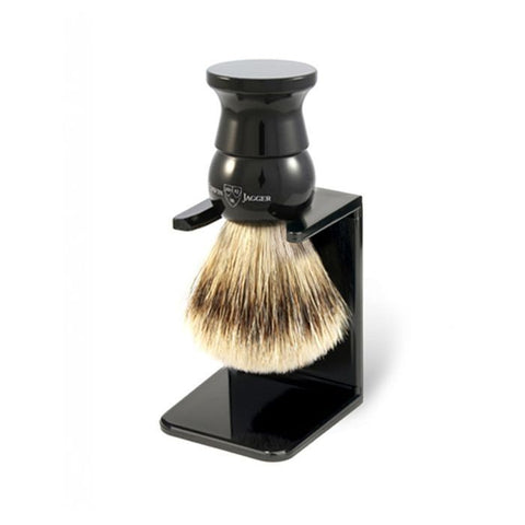 English Shaving Brush, imitation ebony, large, super badger with drip stand - Edwin Jagger