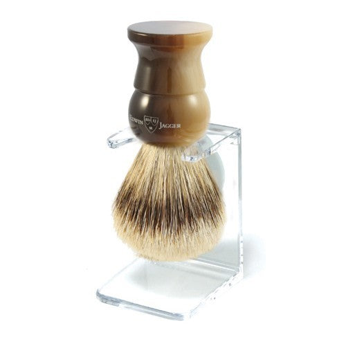 English Shaving Brush, imitation light horn, large, super badger with drip stand - Edwin Jagger