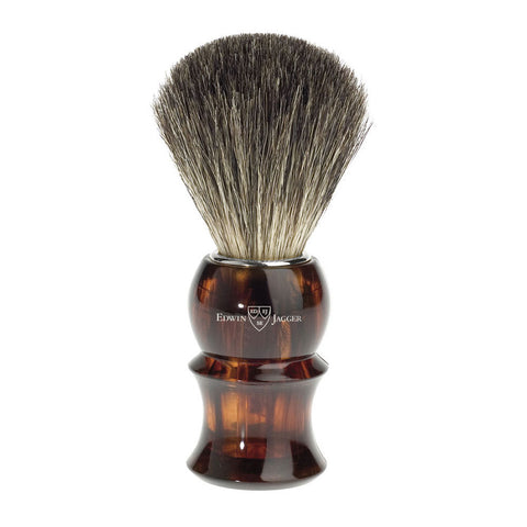 Shaving brush, plastic handle, imitation tortoiseshell, pure badger