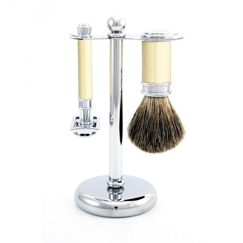 3pc set, DE razor, imitation ivory, shaving brush, pure badger with stand, chrome plated, 1 x pack of 5 Feather razor blades