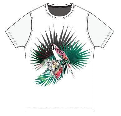 HOM Colorful Bird Printed T-Shirt - HOM