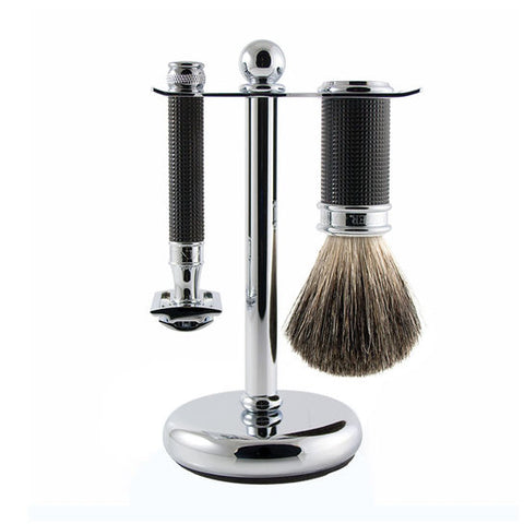3pc set, DE razor, 3D diamond effect handle, black chrome plated, shaving brush, pure badger with stand, 1 x pack of 5 Feather razor blades