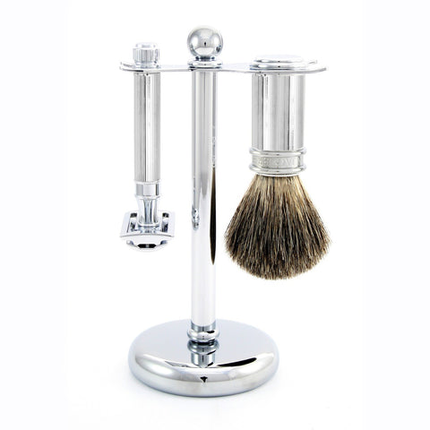 3pc set, DE razor, lined, shaving brush, pure badger with stand, chrome plated, 1 x pack of 5 Feather razor blades