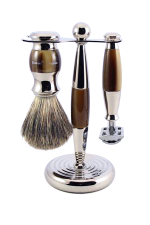 3pc set, Double edge safety razor, shaving brush, imitation light horn, pure badger with stand, chrome plated, 1 x pack of 5 Feather razor blades - Edwin Jagger