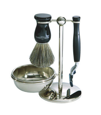 4pc set, Gillette Mach3 razor, shaving brush, imitation ebony, pure badger with stand and soap bowl, chrome plated - Edwin Jagger