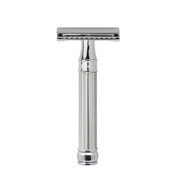 Double Edge safety razor, barley effect handle, chrome plated, 1 x pack of 5 Feather razor blades - Edwin Jagger