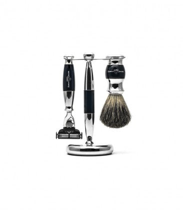 3pc set, Gillette Mach3 razor, shaving brush, pure badger with stand, chrome plated - Edwin Jagger