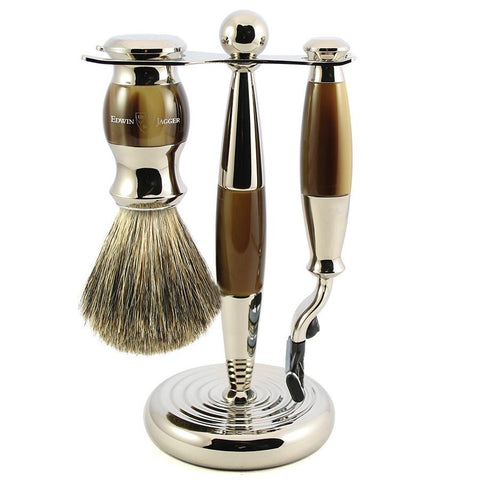 3pc set, Gillette Mach3 razor, shaving brush, imitation light horn, pure badger with stand, chrome plated - Edwin Jagger