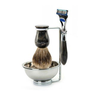 4pc set imitation black marble, Plaza, Fusion razor, shaving brush (best badger), metal shaving bowl/stand - Edwin Jagger