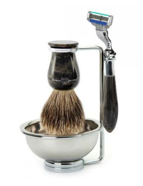 4pc set imitation black marble, Plaza, Mach 3 razor, shaving brush (best badger), metal shaving bowl/stand - Edwin Jagger