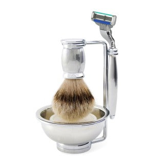 Bulbous 4 Piece Set - Razor, Brush, Stand, Bowl - Grey, Gillette Mach3 Turbo, Super badger - Edwin Jagger