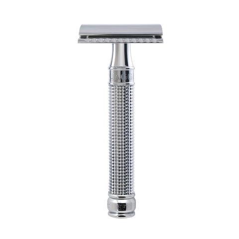 Double Edge safety razor, 3D diamond effect handle, chrome plated, 1 x pack of 5 Feather razor blades - Edwin Jagger