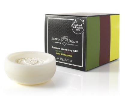 Natural Traditional shaving soap, Aloe Vera, Sandalwood, Limes & Pomegranate, 3 x 65g/2.3 oz refills - Edwin Jagger