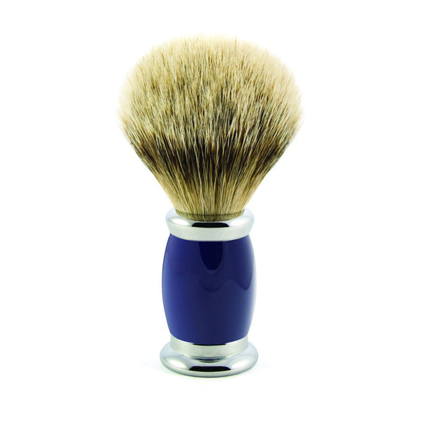 Bulbous Shaving Brush - Blue, Super badger - Edwin Jagger