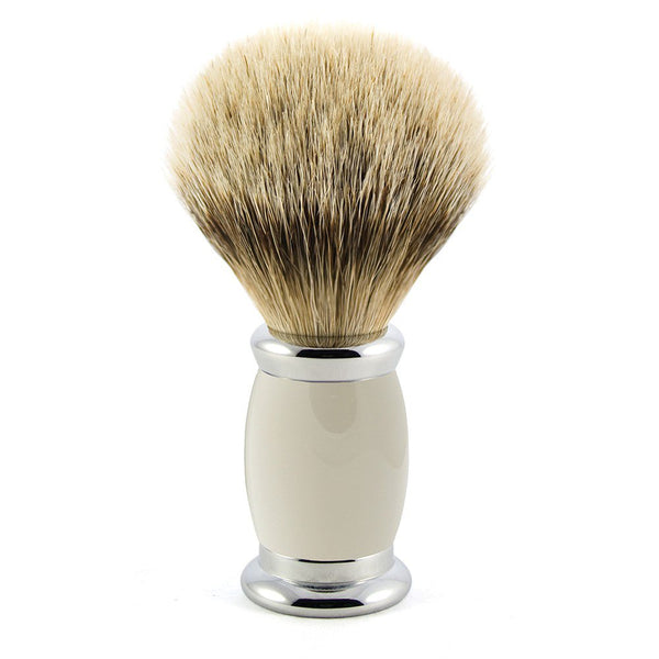 Bulbous Shaving Brush - Grey, Super badger - Edwin Jagger