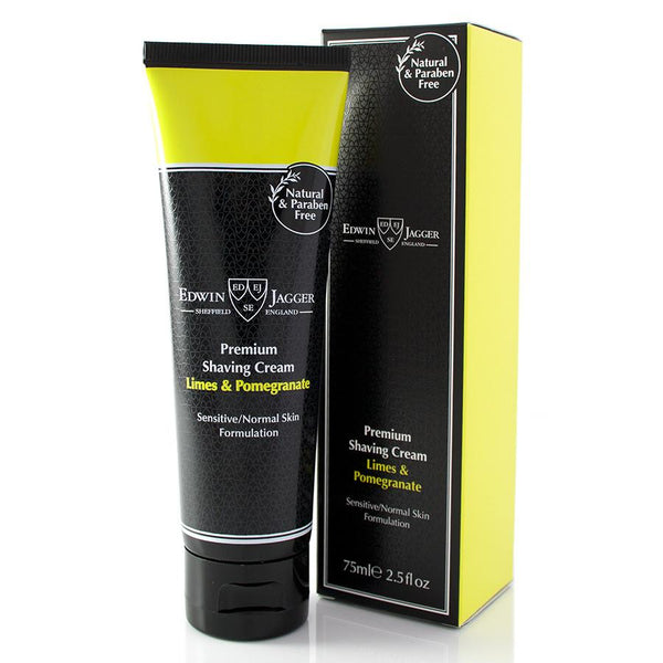 Natural Premium shaving cream, Limes & Pomegranate, 75ml/2.5fl oz tube - Edwin Jagger