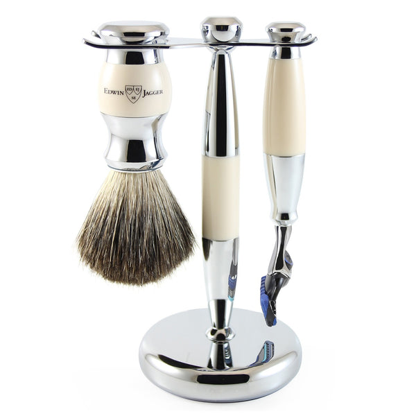3pc set, Gillette Fusion Proglide razor, shaving brush, imitation ivory, pure badger with stand, chrome plated - Edwin Jagger