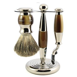 3pc set, Gillette Fusion Proglide razor, shaving brush, imitation light horn, pure badger with stand, chrome plated - Edwin Jagger