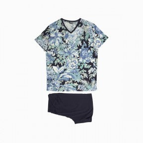Short Sleepwear - Floral Blue - HOM