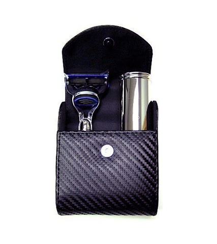 Travel shaving kit with Gillette Fusion ProGlide travel razor and travel shaving brush, black synthetic fibre, black carbon fibre effect material - Edwin Jagger