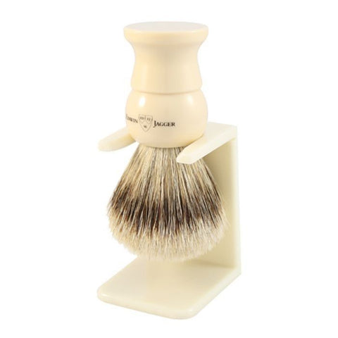 English Shaving Brush, imitation ivory, large, super badger with drip stand - Edwin Jagger