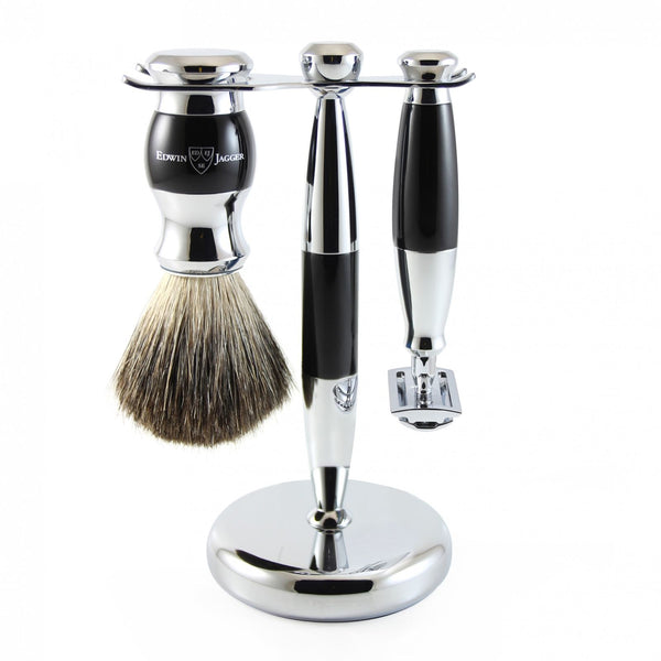 3pc set, Double edge safety razor, shaving brush, imitation ebony, pure badger with stand, chrome plated, 1 x pack of 5 Feather razor blades - Edwin Jagger