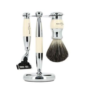 3pc set, Gillette Mach3 razor, shaving brush, imitation ivory, pure badger with stand, chrome plated - Edwin Jagger