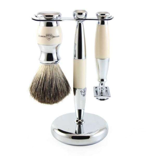 3pc set, Double edge safety razor, shaving brush, imitation ivory, pure badger with stand, chrome plated, 1 x pack of 5 Feather razor blades
