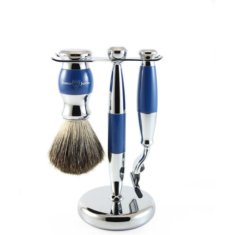 3pc set, Gillette Mach3 razor, shaving brush, blue, pure badger with stand, chrome plated - Edwin Jagger
