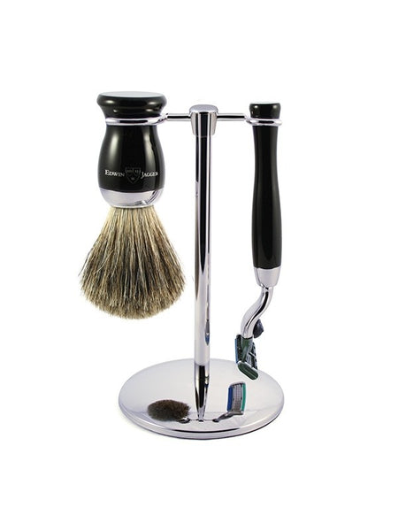 3pc set, Gillette Mach3 razor, shaving brush, imitation ebony, pure badger with stand, chrome plated - Edwin Jagger