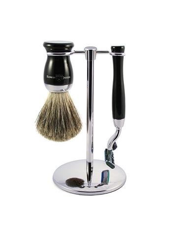3pc set, Gillette Mach3 razor, shaving brush, imitation ebony, pure badger with stand, chrome plated