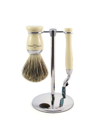 3pc set, Gillette Mach3 razor, shaving brush, imitation ivory, pure badger with stand, chrome plated
