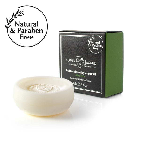 Natural Traditional shaving soap, Aloe Vera, 65g/2.3 oz in travel container - Edwin Jagger