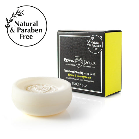 Natural Traditional shaving soap, Limes & Pomegranate 65g/2.3 oz in travel container - Edwin Jagger