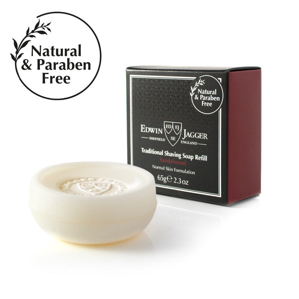 Natural Traditional shaving soap, Sandalwood, 65g/2.3 oz in travel container