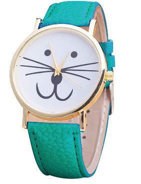 CALLY Cat Face Watch in Turquoise