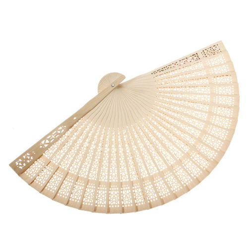Ladies Sandalwood Hand Fan Wooden Holiday Wedding Party Cool Hot Sun Gift