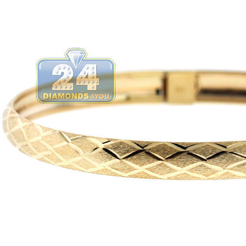 Solid 10K Yellow Gold Diamond Cut Bangle Womens Bracelet 8 Inches