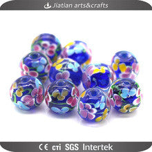14mm round lampwork blue glass beads wholesale for jewelry making