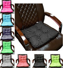 Chunky Dining Garden Tie-On Chair Cushion Seat Pads Polka Dots Spot Back Support