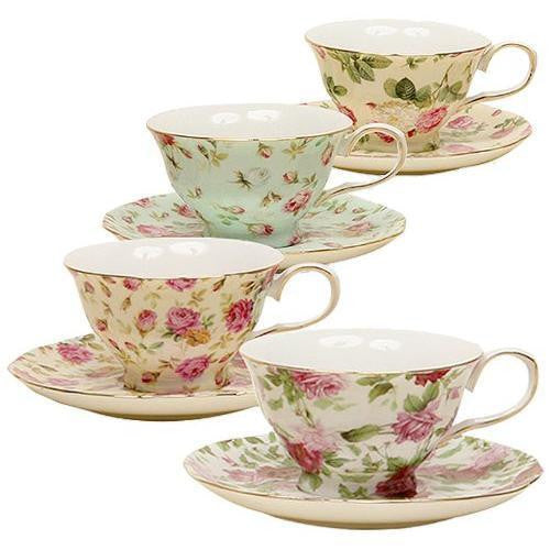 China Rose Chintz 8-Ounce Porcelain Tea Cup and Saucer, Set of 4 New