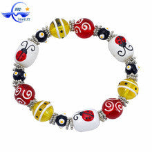 Kid Christmas Stretch Bracelet With Ladybird Animal Hhandpainted Glass Bead,glass beads handmade
