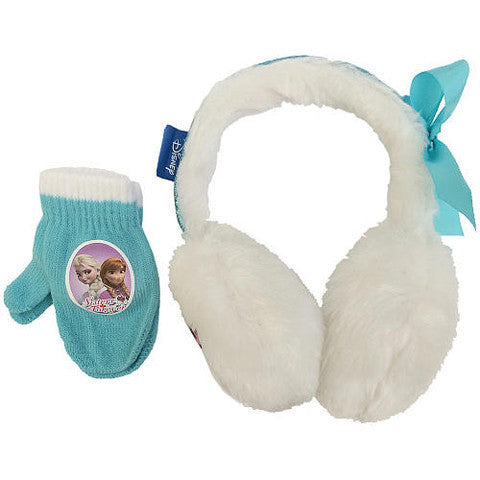 ABG Accessories Disney Frozen Girls White Anna and Elsa Ear Muff and Mittens Set